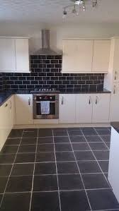 Kitchen Design B Q Kitchen Design Kitchen Living New White Units Black Tiles Design