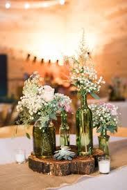 rustic southern barn wedding white flower arrangements rustic