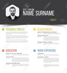 Resume Templates Minimalist by Vector Minimalist Cv Resume Template Design With Profile Photo