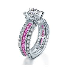 Sterling Silver Wedding Ring Sets by Princess Cut Pink Sapphire Engagement Ring Set Wedding Ring Set