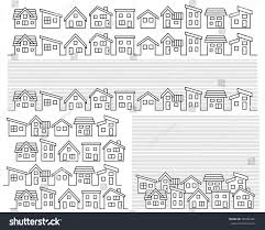 row simple house line drawing stock vector 585005401 shutterstock