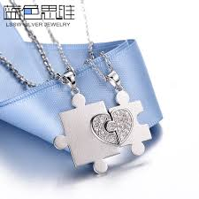 couples puzzle heart necklace images Blue sweet couple necklaces personalized heart puzzle necklaces jpg