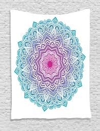 mandala tapestry wall hanging ornate crescent moon with stars and