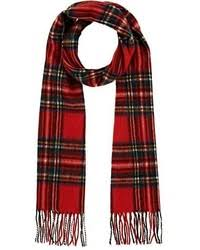 alexander mcqueen red and silver plaid silk and wool scarf where