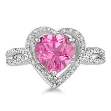 heart ring lab created pink sapphire diamond heart ring in sterling silver