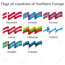 Flags Of Countries In Europe Set Of Flying Flags Of Northern Europe Countries In Waves Isolated
