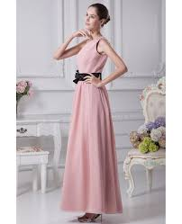 black sash simple pink one shoulder beaded chiffon bridesmaid dress