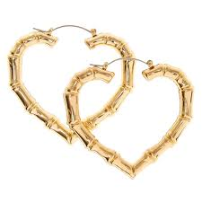 heart shaped earrings 60mm gold tone heart shaped bamboo hoop earrings s ca