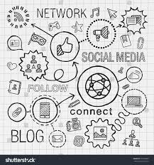 social media hand draw integrated icons stock vector 272769665