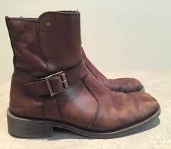 natha studio mens brown leather motorcycle style boots size 10 w