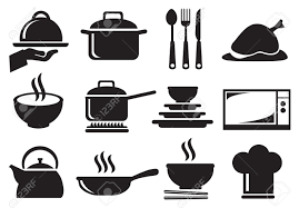 kitchen tools and equipment black and white vector icons of kitchen utensils and equipment