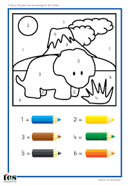 simple colour by numbers dinosaur pictures with clear visuals
