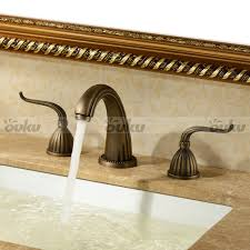 best antique brass finish widespread bathroom sink faucet two