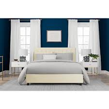 Turquoise Bed Frame Dhp Emily Vanilla Upholstered Faux Leather Queen Size Bed Frame