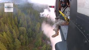 Wildfire Yosemite 2013 by Aerial Firefighting National Guard Helicopter Battles The Rim