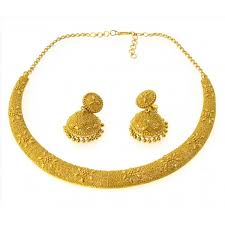 gold necklace sets images Filigree style hasli necklace set with earrings 22kt yellow gold jpg