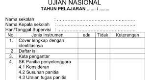 format absensi ujian contoh format instrumen administrasi ujian nasional un tahun