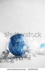 blue white ornaments on glitter stock photo 337299251