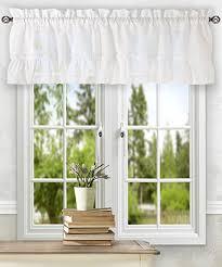 White Valance Amazon Com Ellis Curtain Stacey Ruffled Filler Valance White 54