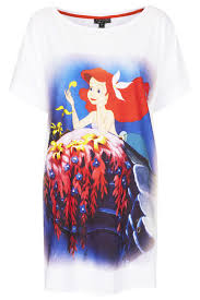 topshop little mermaid print pj tee in white lyst