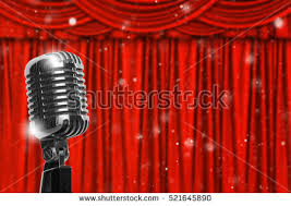 Studio Curtain Background Vintage Microphone Red Curtain Realistic Background Stock