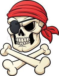 pirate skull and crossbones vector illustration with simple