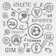 sport hand draw integrated icons set vector sketch infographic