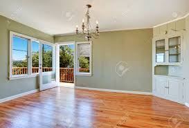 Built In Cabinets In Dining Room by Empty Dining Room Interior With Hardwood Floor Light Mint Walls