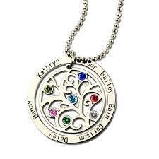 personalized family tree necklace family tree birthstone name necklace