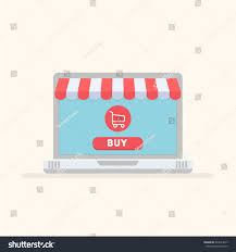Awning Online Online Shopping Concept Laptop Awning Vector Stock Vector