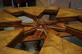 round dining room tables with self storing leaves large 64 84 round solid oak dining table with leaves