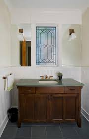 Powder Room Vanity Sink Cabinets - powder room vanity u0026 leaded glass window craftsman powder room