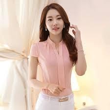 formal blouse formal cotton shirt office ol work v neck
