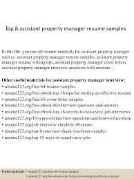 Property Manager Resume Samples Top8assistantpropertymanagerresumesamples 150331211201 Conversion Gate01 Thumbnail 4 Jpg Cb U003d1427854371