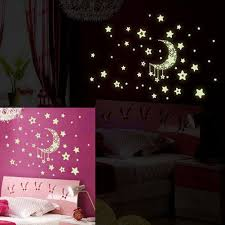 Stars Home Decor by Glow In The Dark Moon And Stars Wall Sticker Baby Bedroom Galaxy