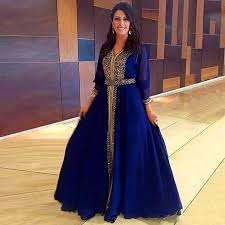 arabic royal blue prom dresses with beaded top a line chiffon