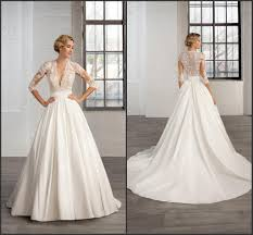 discount bridal gowns 2016 a line satin vintage wedding dresses 4 4 sleeve sheer