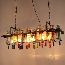 american industrial art vintage glass wine bottle chandelier lamp