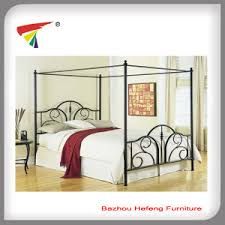 china powder coated black canopy bed frame china metal double
