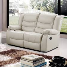 Armchairs Belfast Belfast Ivory Cream Premium Bonded Leather Electric Recliner Sofa