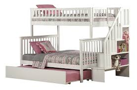 Amazoncom Woodland Staircase Bunk Bed With Urban Trundle White - White bunk beds twin over full with stairs