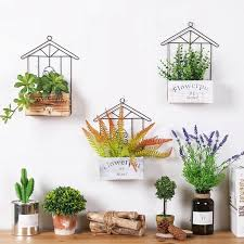 home wood wall kitchen storage rack wall hanging flower pot rack