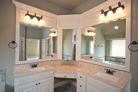 Bath With Corner Vanity And Double Sinks Transitional Bathroom - Corner sink bathroom cabinet