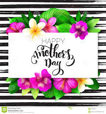 vector mothers day greetings card with hand lettering happy