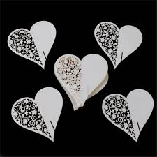 50 pieces laser cut heart floral wine glass place cards table