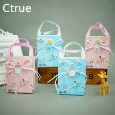 baby shower decorations boys 12pcs baby shower candy box gift handle bag paper for baby