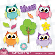 Owl Item by Patchwork Owls Clip Art Spring Clipart Illustrations Owl