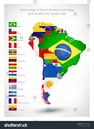 Map Of Brazil South America by Vector Map South America Flags Location Stock Vector 264599954