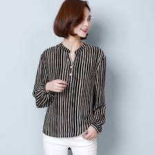 striped blouse 2017 casual sleeve v neck striped blouse