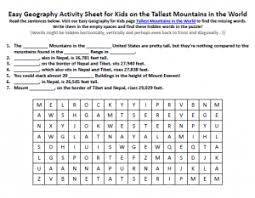 tallest mountains in the world worksheet free hidden words puzzles